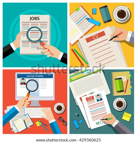 Set Job Interview Concept Business Cv Stock Photo Photo Vector