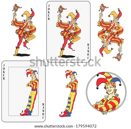 Set of jokers playing card. Isolated, framed inside card, symmetric and inside a circle.