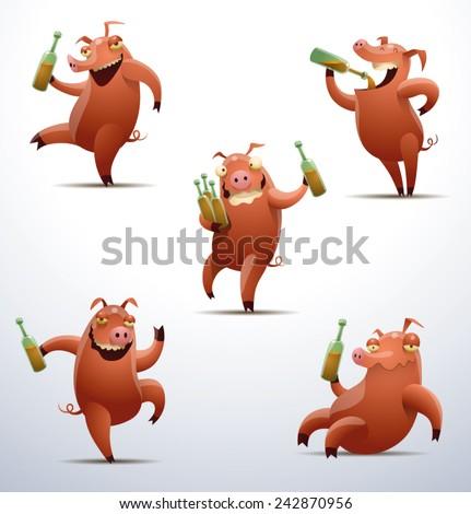 set of Jolly pigs, vector - stock vector