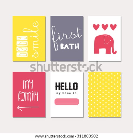 Set of journaling cards for newborn baby girl. Vector templates for scrapbooking, greeting / gift cards, patterns, art decoration etc. - stock vector