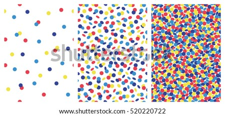 Set of joyful seamless pattern with colorful confetti. Vector illustration.