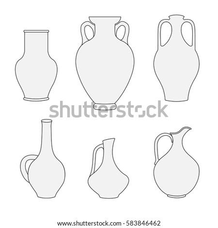 pitcher outline decanter greek amphoravector illustration