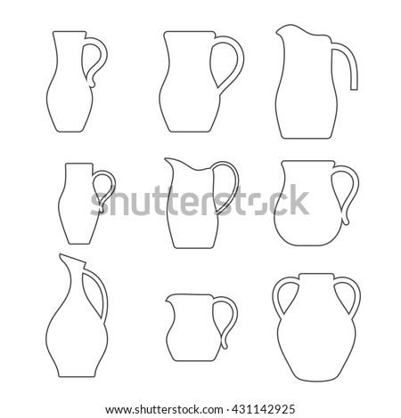 pitcher outline vector illustration