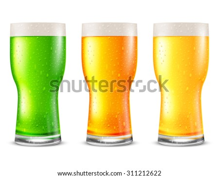 Set of juice fresh drink in glasses with cold water drops. Vector illustration