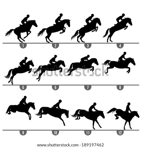 Set of 12 jumping horse phases silhouettes. - stock vector