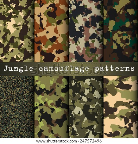 Set of 8 jungle camouflage patterns vector - stock vector
