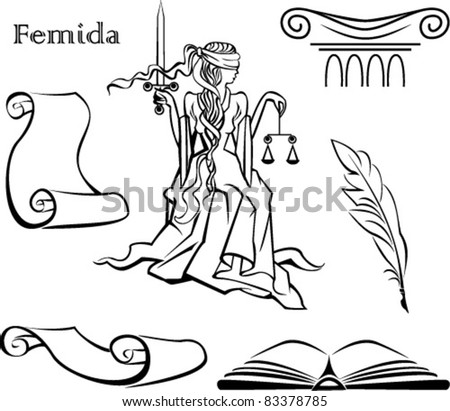 Set of justice symbols (book, column,  pen, scroll of parchment) and Femida - a goddess of justice - stock vector