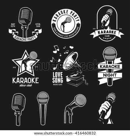 Set of karaoke related vintage labels, badges and design elements. Karaoke club emblems. Microphones isolated on white background. Vector illustration. - stock vector