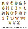 Set of kid alphabet characters - stock photo
