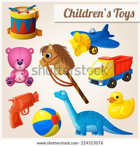 Set of kid's toys. Cartoon vector illustration. - stock vector