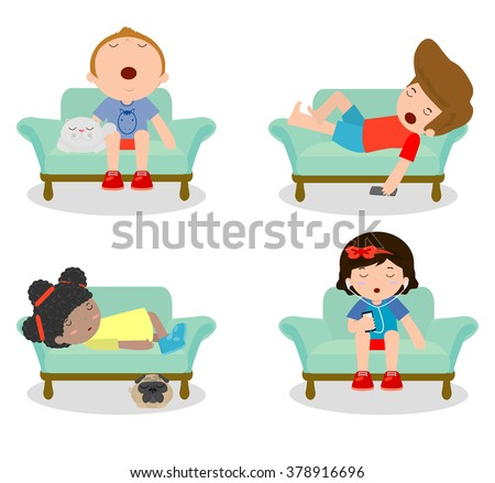 set of kid sleeping on sofa at home on white background children resting at home - Cartoon Picture Of Child