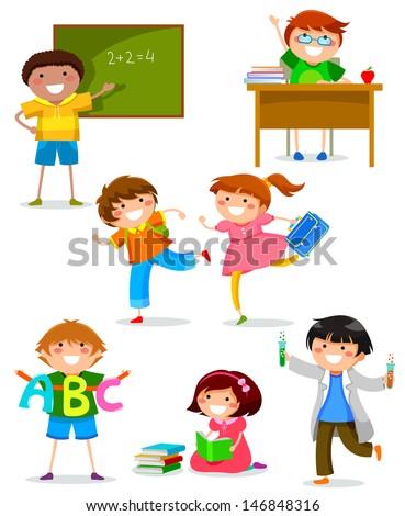 set of kids at school - stock vector