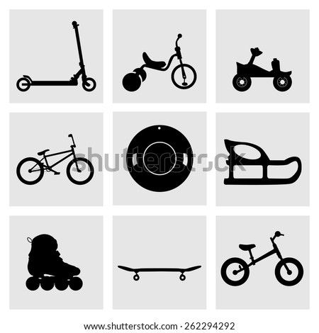 Set of  kids' , kids transport icons, sport icon. Roller skates, bicycle, tricycle, velobeg, begovel, saucer sled, inflatable sled, snow tube. Extreme, sports, health. - stock vector