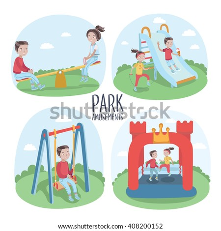 Set of kids playground elements and kids playing vector illustration - stock vector