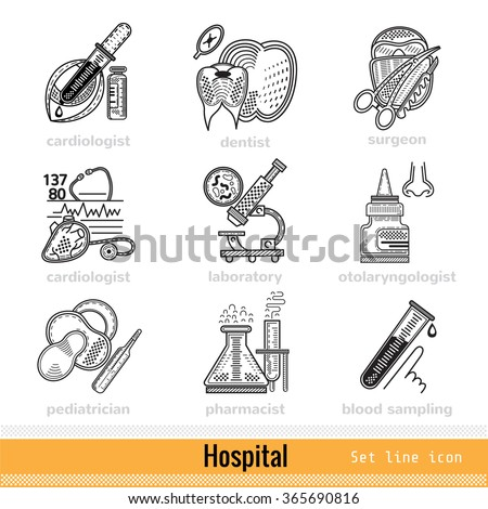 Set of Kind of Doctors Outline Web Icons - stock vector