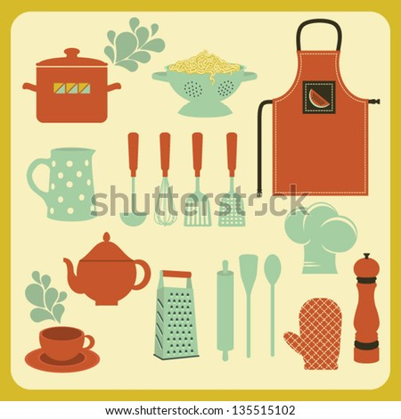 Set of Kitchen Accessories and Utensils, including oven mitt, apron, colander and grater - stock vector
