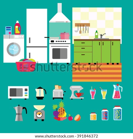 Set of kitchen appliances, tools, dishware and furniture in flat design style. Kitchen interior concept.  Microwave oven, fridge, washing machine, electric kettle, toaster, blender. Vector icons.  - stock vector