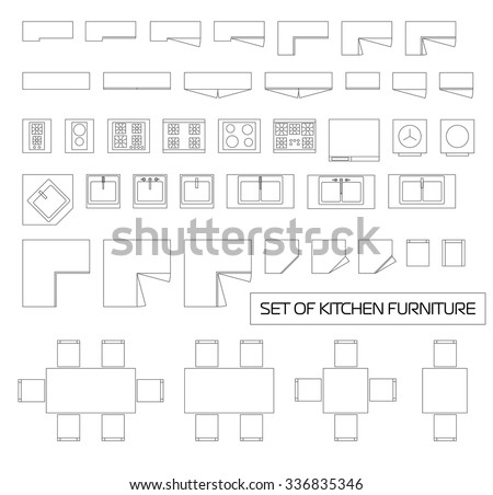 Set of kitchen furniture, top view, vector - stock vector