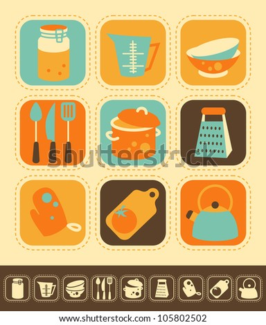 Set of kitchen icons, color and monochrome version - stock vector