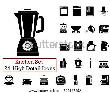 Set of 24 Kitchen Icons in Black Color.  Suitable For All Kind of Design (Web Page, Interface, Advertising, Polygraph and Other). Vector Illustration.  - stock vector