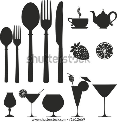 set of kitchen object. Vector icon.  Isolated on White Background. Silhouette. - stock vector