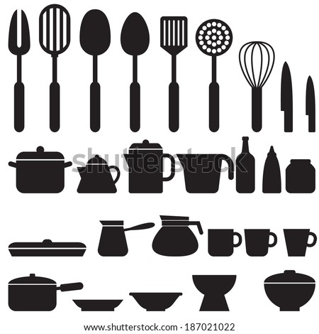 Set of kitchen tool silhouette icons vector - stock vector