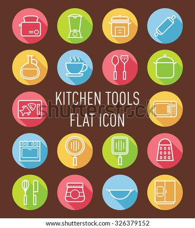 set of kitchen tools icon - stock vector