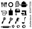 Set of kitchen tools- Silhouettes - stock vector