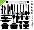 Set of kitchen tools silhouettes vector - stock photo