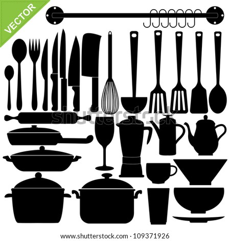Set of kitchen tools silhouettes vector - stock vector