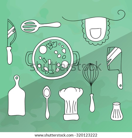 Set of kitchen utensils for cooking. Icons of kitchenware white color in black lines. The food in the saucepan. Vector Illustration on a turquoise background - stock vector