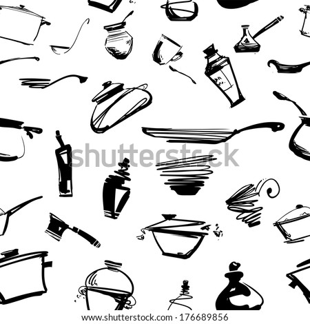 Set of kitchen utensils: seamless ornament - stock vector