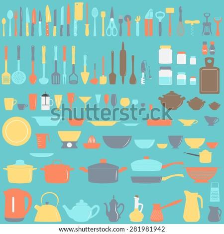 Set of kitchen utensils, vector illustration - stock vector
