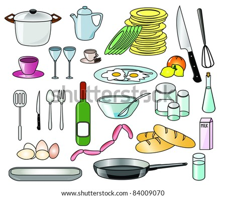 Set of kitchen vector tools, food and beverages - stock vector