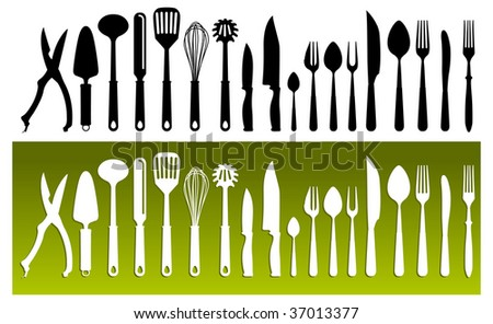Set Of Kitchen Wares Isolated On White Background, Vector Illustration