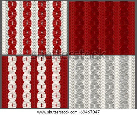 Set of knitted swatches with braids - stock vector