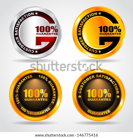 Set of label. Premium quality. 100% guarantee. Vector illustration