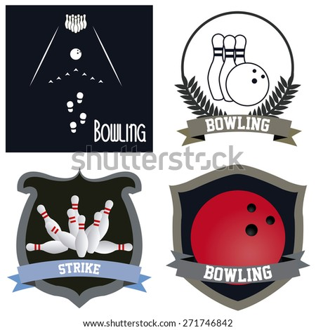 Set of labels and backgrounds with bowling elements and text. Vector illustration