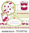 set of labels for cherry jam - stock vector
