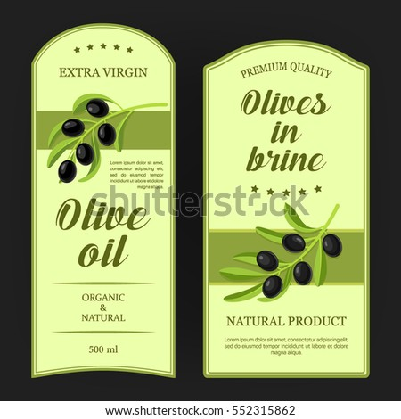 Set of labels for olive oil with black olives branches. Vector stickers designed for advertising olive oil or olives in brine premium quality.