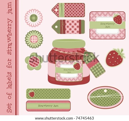 Set of labels for strawberry jam, vector - stock vector