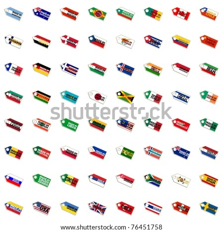 Set of labels in national colors - stock vector