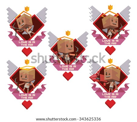 Set of labels made from hearts, wings and banners with Cute cupids in white clothes with white wings behind holding bows and arrows, They prepare to Valentines day, did in cube style.  vector - stock vector