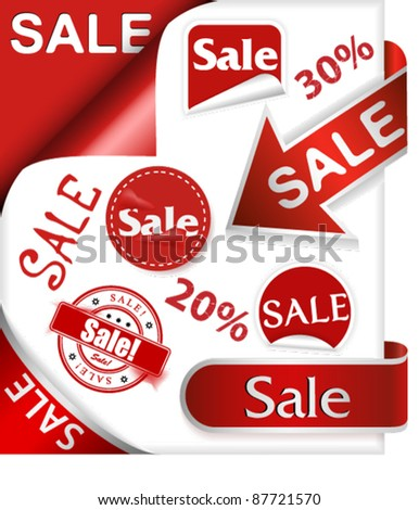 Set of labels, stickers, ribbons, arrows, clips and stamps with word sale