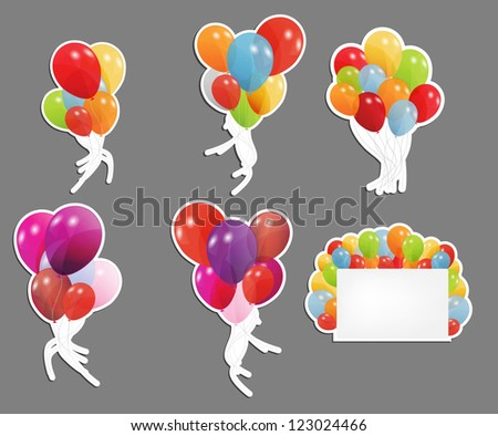 set of labels with colored ballons, vector illustration - stock vector