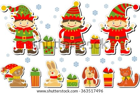 set of labels with elves, toys and gifts