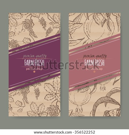 Set of 2 labels with grape and pomegranate branch. Placed on original cardboard texture. Includes hand drawn elements.  - stock vector