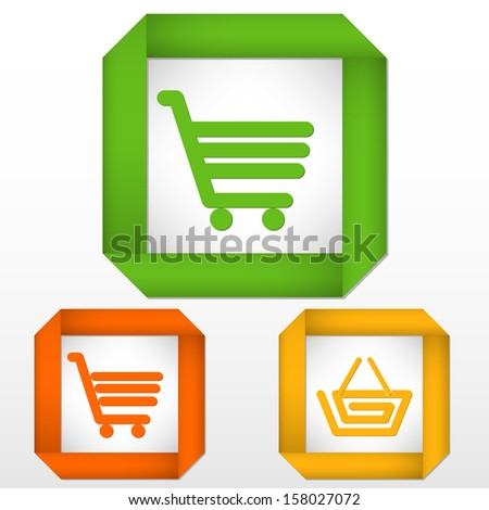 set of labels with icons of cart and basket colored green, orange and yellow