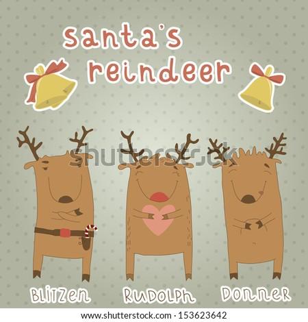 Set of labels with Santa's reindeer. Cartoon characters. Vector format. Blitzen, Rudolph, Donner. Eps 10 - stock vector