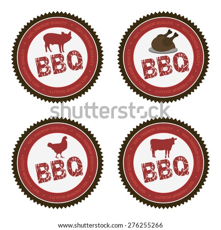 Set of labels with text and barbecue elements. Vector illustration